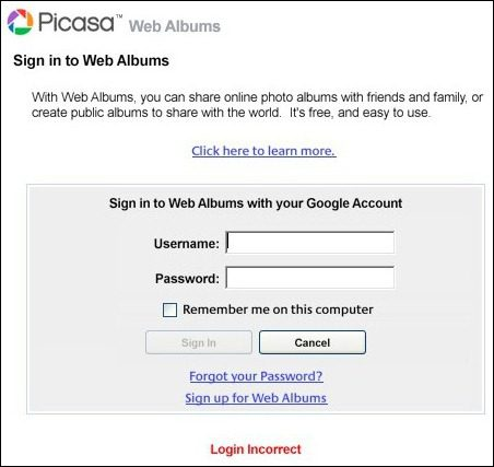 Picasa: Web Albums Login Incorrect With 2-Step Verification