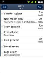 GTasks Android todo list app - task list screen